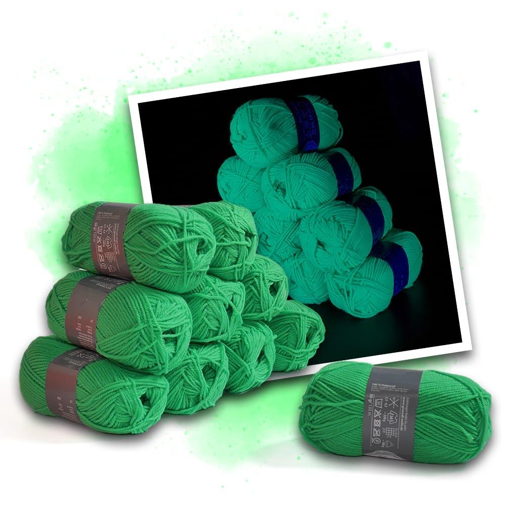 Neon Wolle grün - 10 Knäuel