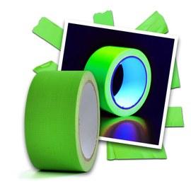 Nastro adesivo fluo UV, verde - 2 pezzi