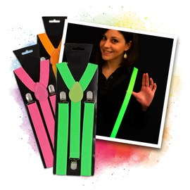 Neon suspenders set - green, orange, pink