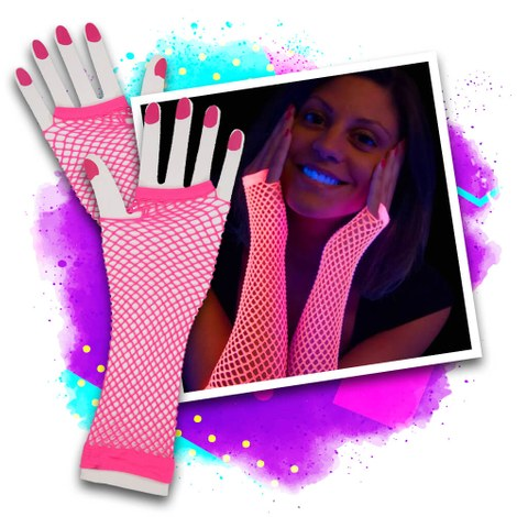 3x Blacklight fishnet gloves - pink