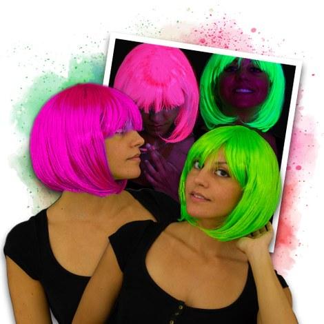 UV Fluo Bob pruik Set - 1 roze & 1 groen