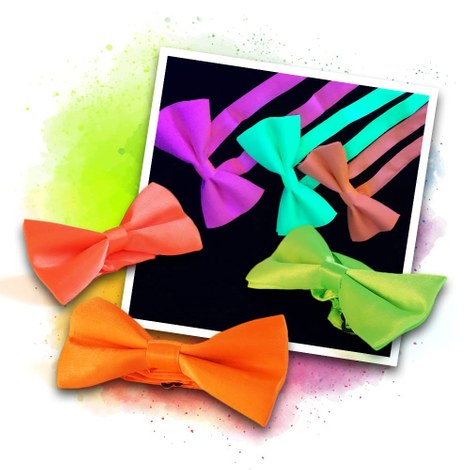 Neon UV bow tie set - pink, orange, green