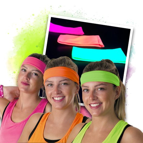 Neon UV hoofdband set