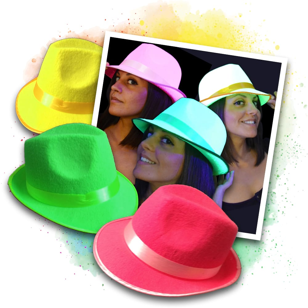 Neon UV Party Hut Set - gelb, grün, pink