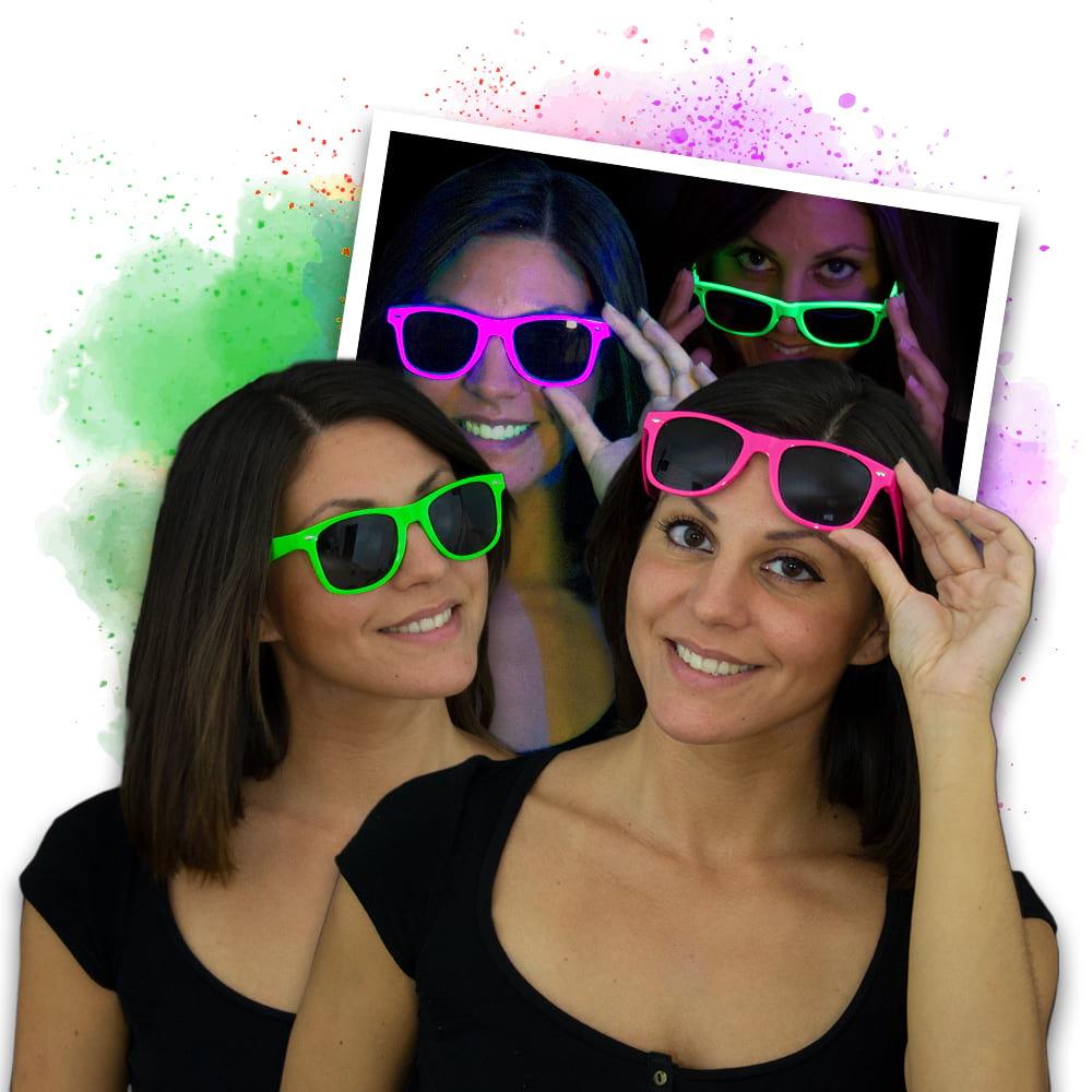 Neon Party Sonnenbrille Set - 3x grün & 3x pink