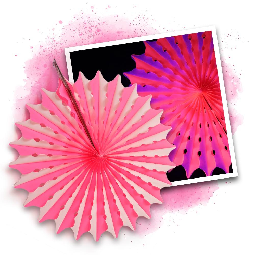 Neon UV Honigwaben Deko 45cm - PINK