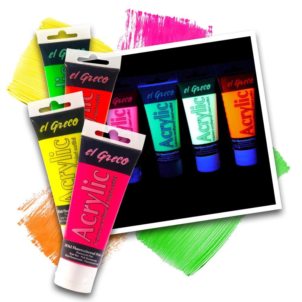 Neon UV Künstler-Acrylfarbe pastos - 4 Farben
