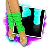 Black light neon leg warmers - green