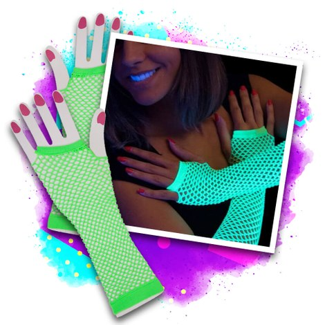 Blacklight fishnet gloves - green