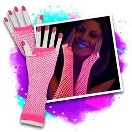 UV Neon Netzhandschuhe pink