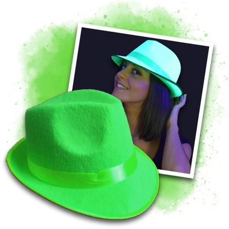 Chapeau de soirée fluo UV vert
