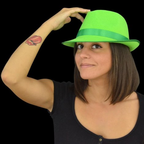 3x UV Neon Tribly Hat green