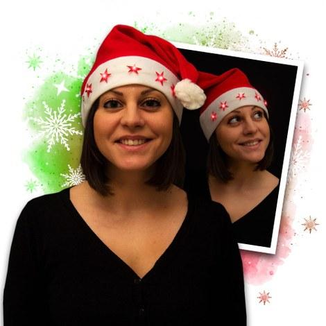 12x LED santa hat with 5 blinking stars